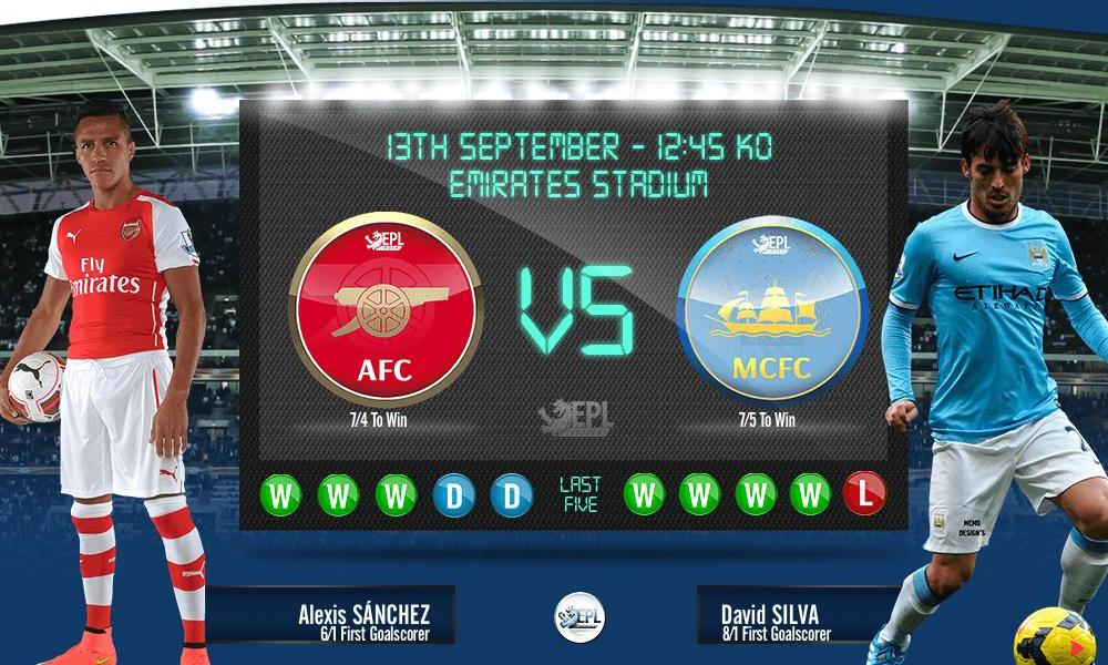 Arsenal vs Manchester City: 18h45, ngày 13/09