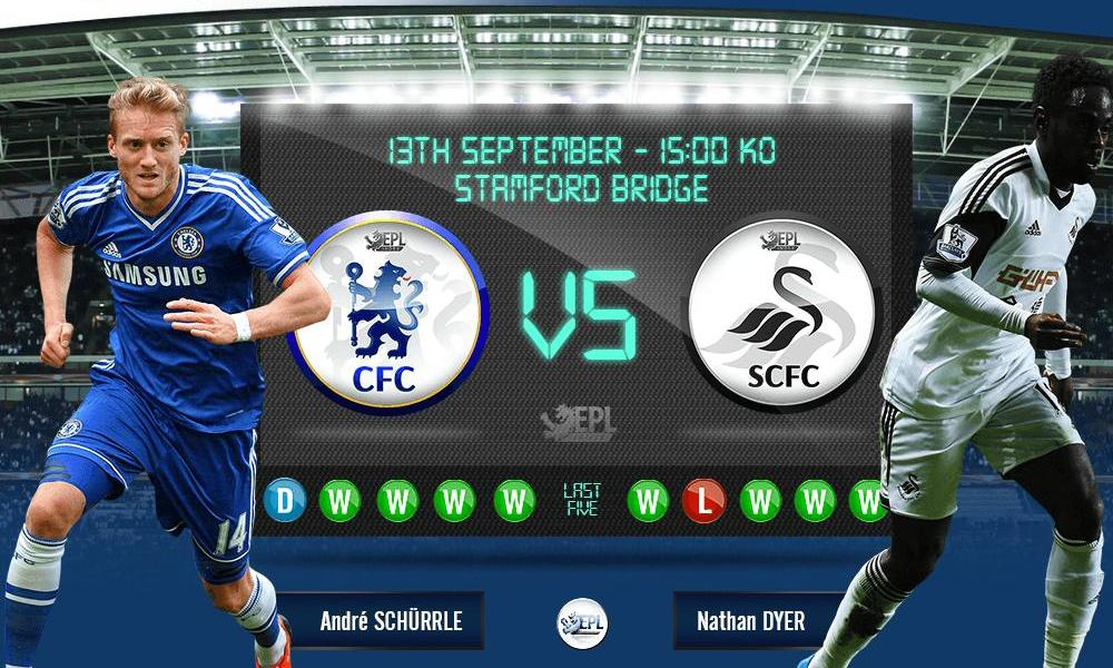 Chelsea vs Swansea City: 21h00, ngày 13/09