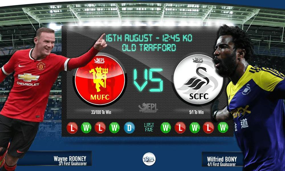 Manchester United vs Swansea City: 18h45, ngày 16/08