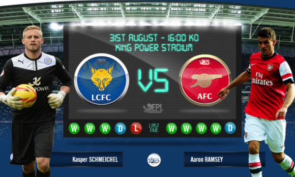 Leicester City vs Arsenal: 22h00, ngày 31/08