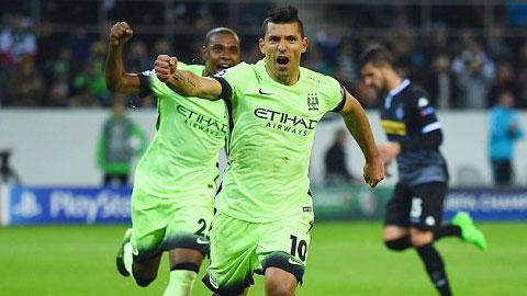 Monchengladbach 1 - 2 Manchester City (Cúp C1 Champions League 2015-2016, vòng bảng)
