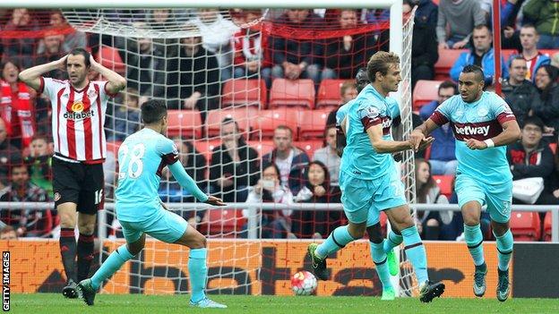 Sunderland 2 - 2 West Ham United (Ngoại Hạng Anh 2015-2016, vòng 8)